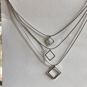 Layered Silver Necklace with Square Charms